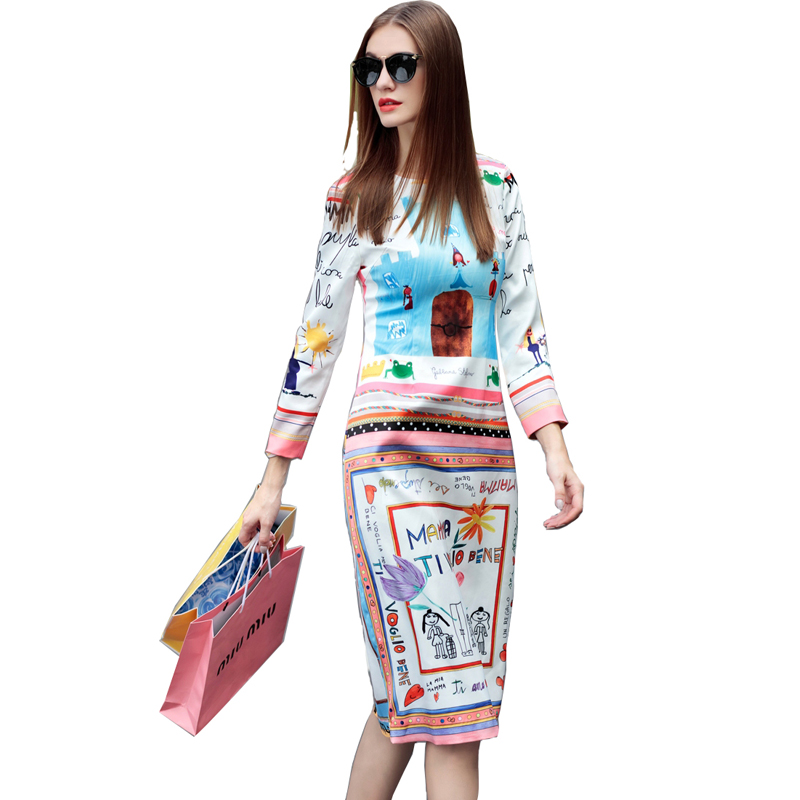 Casual Dress 2016 Summer New Fashion Dresses Full Sleeve Fresh Graffiti Letters Print Designer