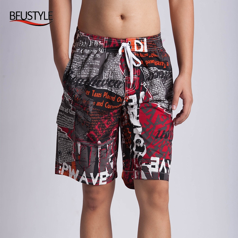 BFUSTYLE Mens Surf Wear   Board     Shorts   2019 Summer Swimsuit Letter newspaper print Boardshorts Trunks   Short   M-3XL Plus Size