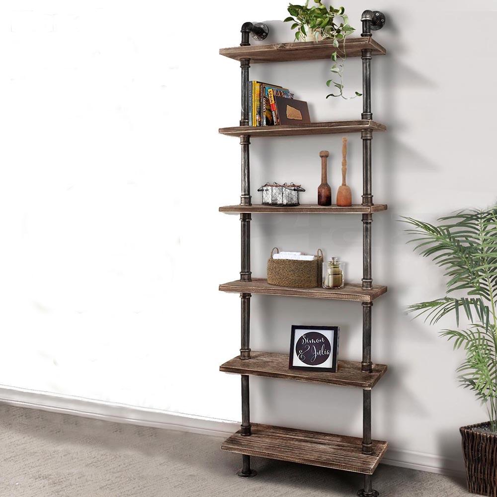 IKayaa fer bricolage étagère à livres debout étagère de rangement utilitaire 6 niveaux rustique échelle industrielle étagères murales avec planches de bois