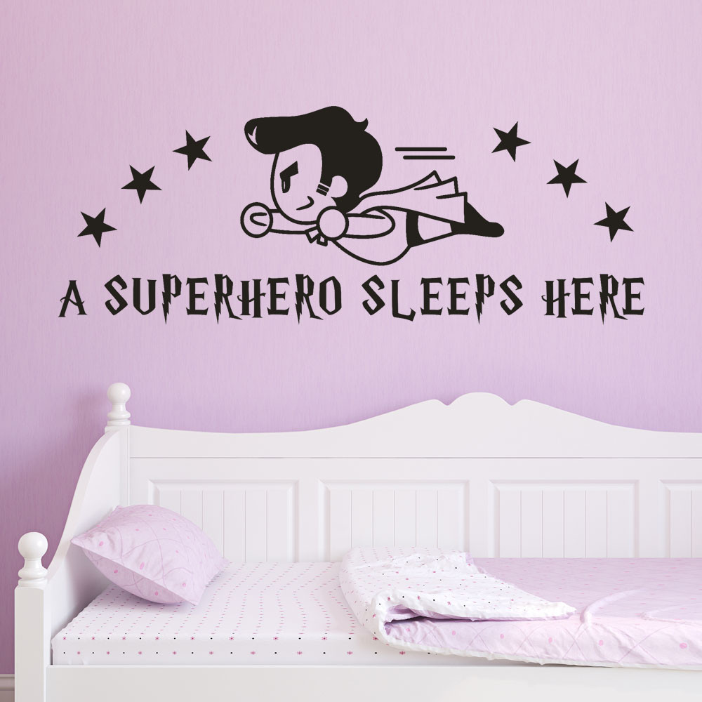 SuperMan Wall Stickers for kids Rooms Superhero Sleeps Here Wall Decals Art