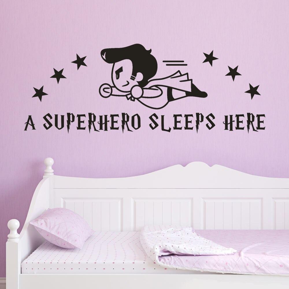 Analytisch Superman Superhero Wand Aufkleber Für Kinder Zimmer Eine Superhero Schläft Hier Wall Decals Home Dekoration Kunst R3 SchnäPpchenverkauf Zum Jahresende Wohnkultur Haus & Garten
