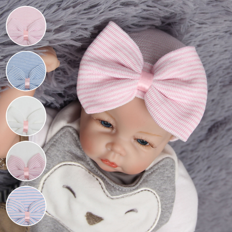 1 Pc Hospital Newborn Hat Baby Girl Cotton Beanie With Bow Newborn Soft Knit Infant Striped Caps Toddler Hat Accessories A1