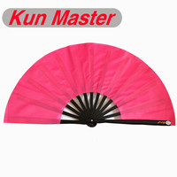 Kun Master 34 Cm  Bamboo Chinese Kung Fu Tai Chi Fan With Pink Cover Black Staves