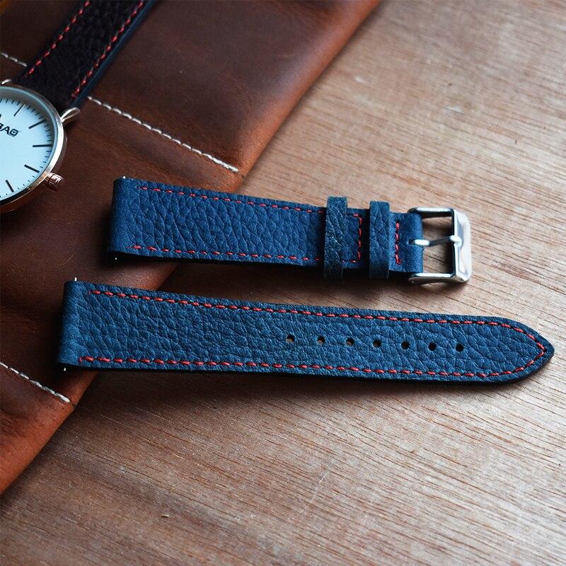 Fashion Leather Watch Strap Head Layer Cowhide Litchi Pattern Handmade Watch Accessories Watchband For Women Man #C
