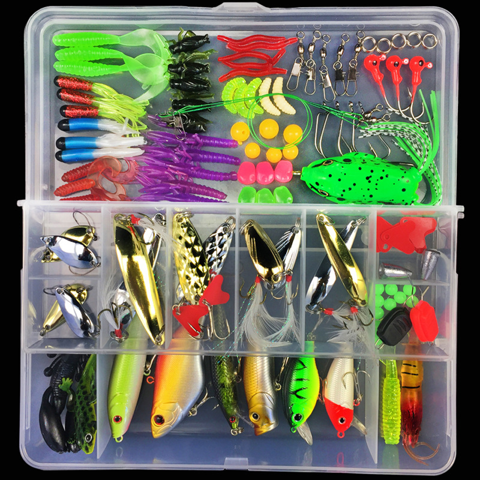 Fishing Lure Kit Mixed Hard Bait Soft Lure Popper Crankbait VIB Topwater Floating Fishing Bass Lures Hook Wobber Box Pesca Peche