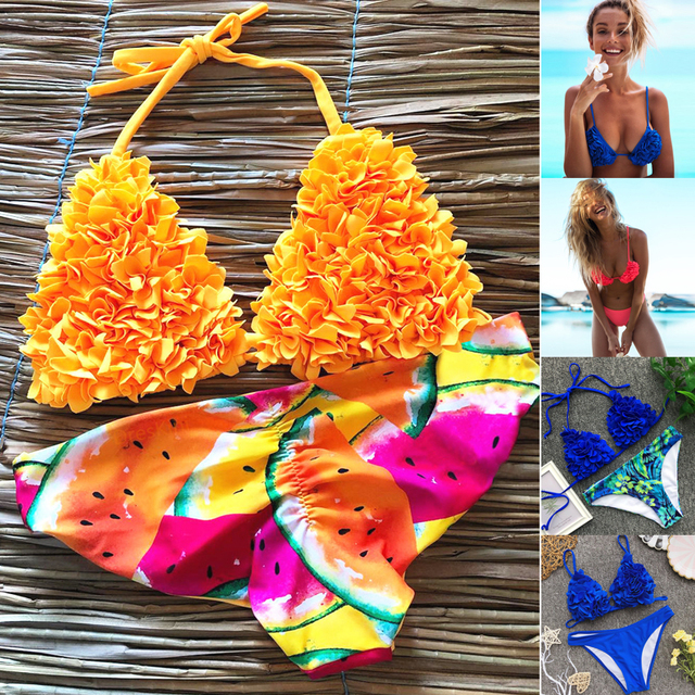 1e79bce5043 US $5.22 20% OFF|Aliexpress.com : Buy Brazilian Thong Bikini Push Up  Swimwear High Waisted Bathing Suits Yellow 2 Piece Swimsuit Women Monokini  ...