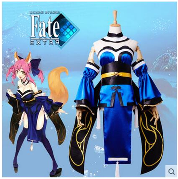 Здесь продается  2017 New Clothing Made Anime Fate/stay Night Caster Tamamo no mae Costume Halloween Party Cosplay Costumes Shirt+Dress+Sleeves  Одежда и аксессуары