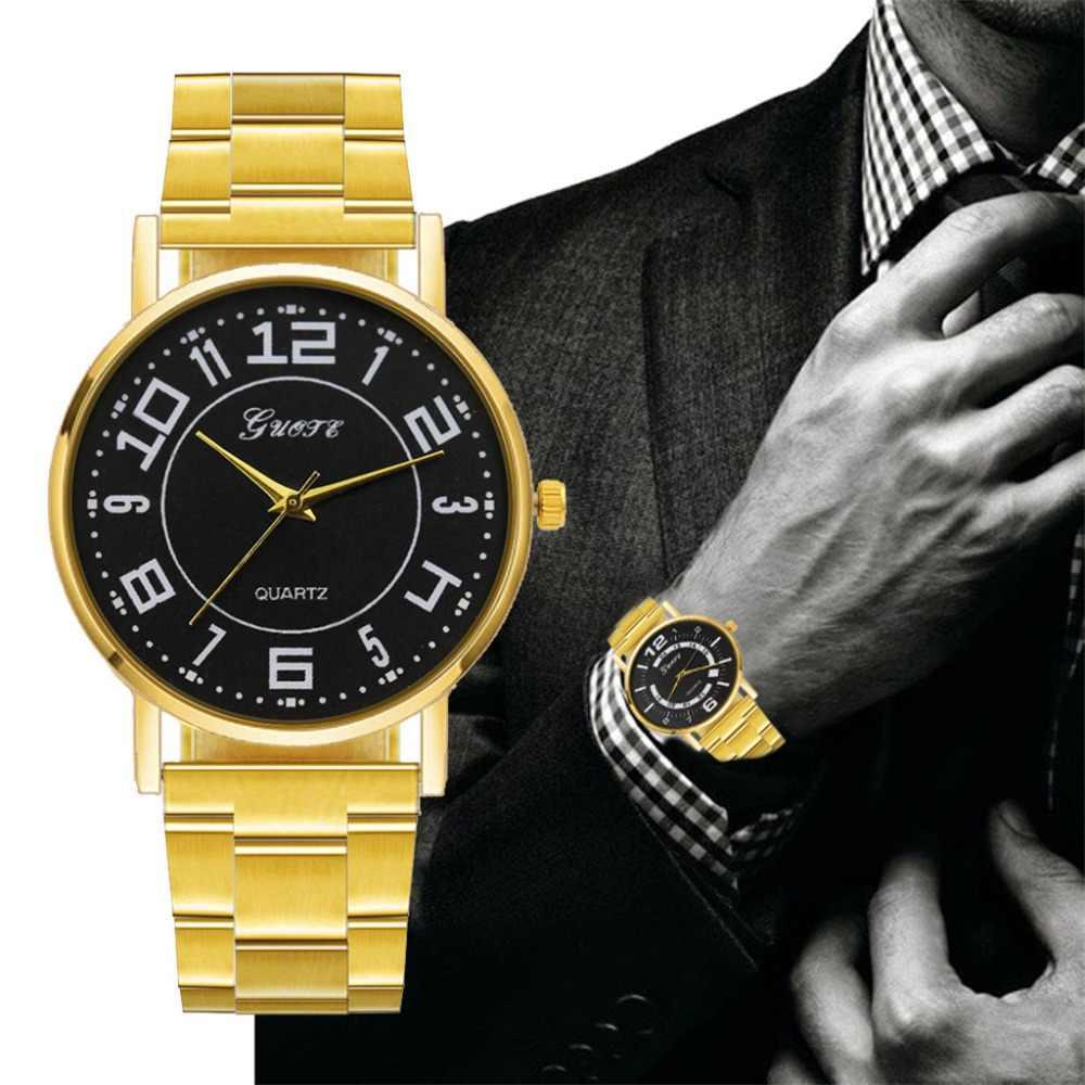 2019 אופנה מותג גברים שעון זהב אבזם נירוסטה גברים של שעון אנלוגי קוורץ יד שעונים צמיד Horloges Mannen Q5