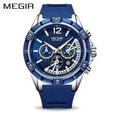 Хронограф megir спортивные для мужчин часы силиконовые Творческий повседневные часы для мужчин часы час армии Военная Униформа наручные…