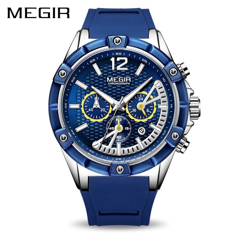 Reloj MEGIR deporte cronógrafo hombres reloj de silicona creativo de cuarzo Relojes hombres reloj militar del ejército Relogio Masculino