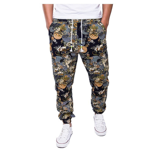 Brand Mens Retro Cotton Linen Men Harem Casual Pants Trousers Males Hip Hop Floral Flower Printed Pants Plus Size M L XL XXL