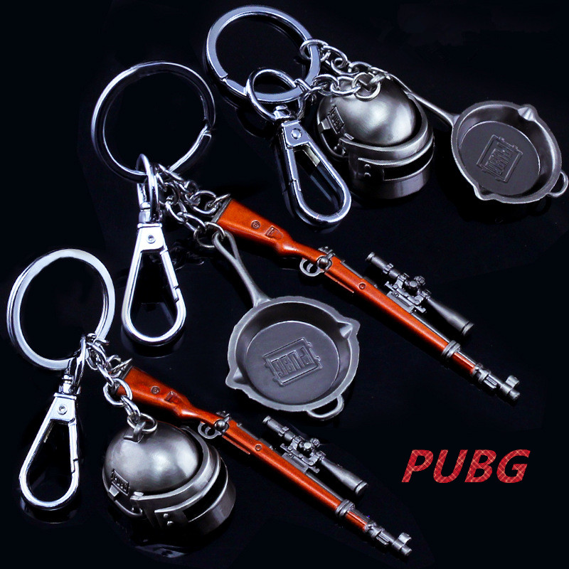 Game PUBG Playerunknown's Battlegrounds Cosplay Costumes Keychain Pans Weapon Model Key Chain pan+98k and 3 level helmet