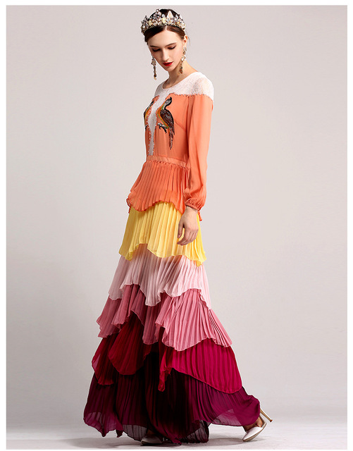 Vestidos largo elegante multicolor capas hombros encaje 1