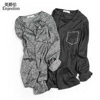 Enjeolon marka kalite casual uzun kollu t gömlek adam örme siyah beyaz katı baz Giyim Üstleri Tee ücretsiz gemi RST7120-1