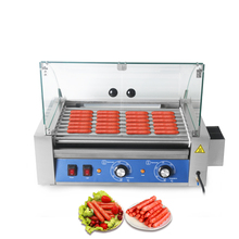 купить Stainless Hot Dog 9 Roller Grilling Machine Warmer Hot Dog Maker With Cover Sausage Rollers IT-HD-9D Snack Machine дешево