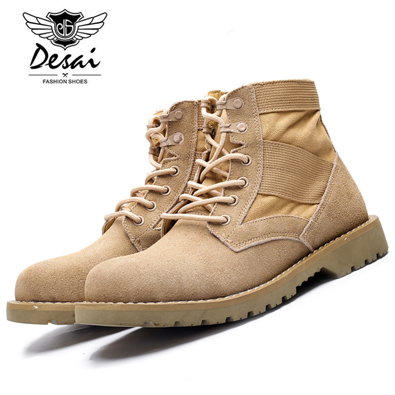 DESAI Brand 2017 Autumn Winter New Classic Men's Desert Boots Suede Leather Cowboy Boots Handmade Men Ankle Casual Boots DS9A601 tangnest new autumn winter chelsea boots for men casual suede leather ankle boots warn fur inside rubber boot cowboy shoes