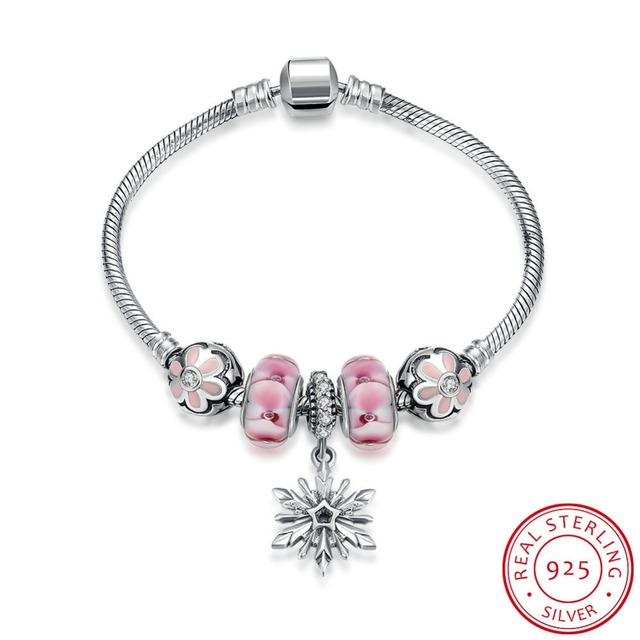84164ff76 Hot Sale 100% 925 Sterling Pure Silver Bracelet For Women With peach  blossom Charms Beads