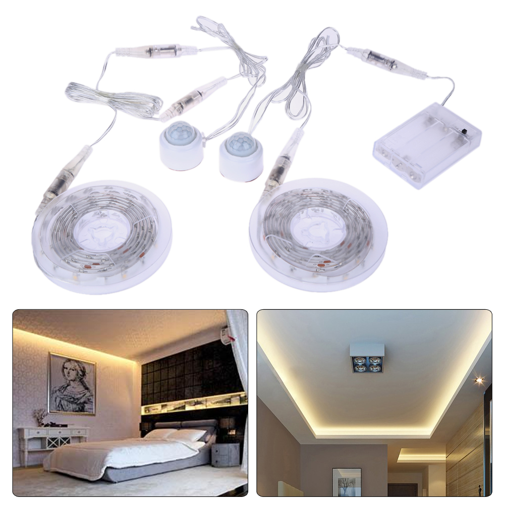 Automatic night lights decorative - Led Bed Under Cabinet Strip Night Light Flexible Sensor Automatic Shut Off Floor Lamps Bedroom Cabinet