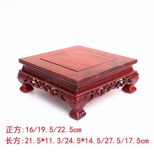Red wingceltis square base solid wood real wood household act the role ofing is tasted vase flowerpot handicraft furnishing