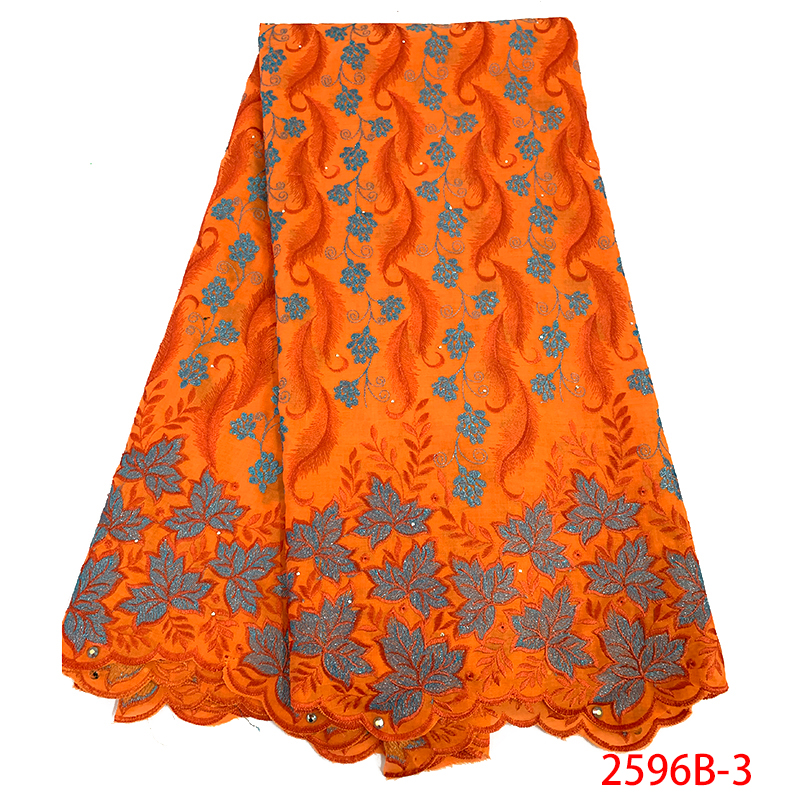 Orange color Nigeria Swiss Laces High Quality Swiss Voile Laces Switzerland Cotton African Dry Lace Fabric
