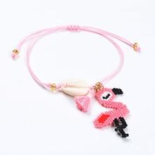Go2boho Delica MIYUKI Bracelets Women Shell Bracelet Bohemian Pink Flamingo Pulseras Mujer 2019 Handmade Child Summer Jewelry