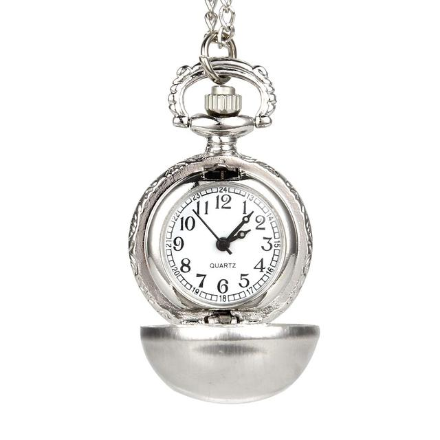 Retro Silver Color Round Ball Quartz Fob Pocket Watch with Sweater Necklace Chai