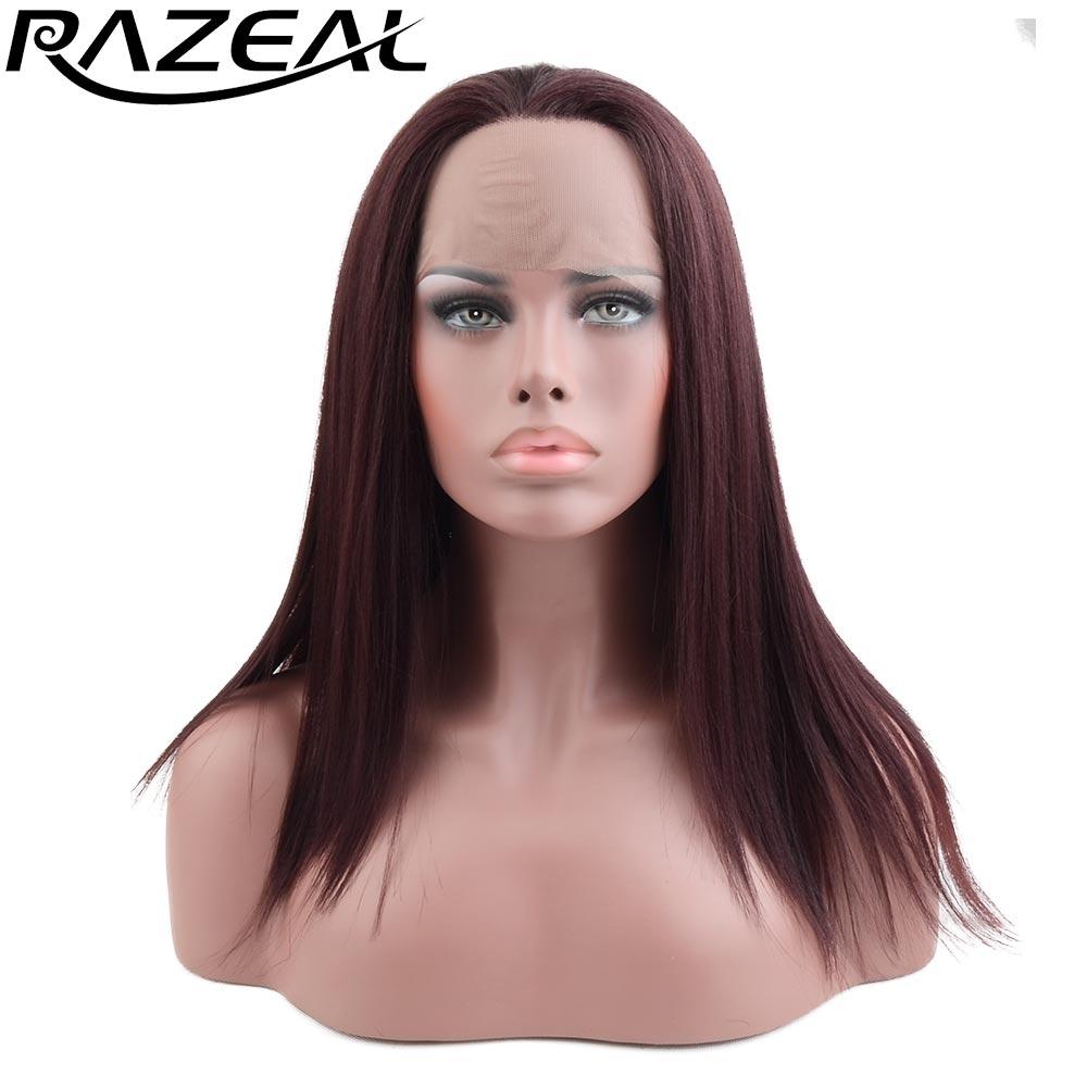 Razeal brun blond naturel longues perruques droites perruque avant en dentelle synthétique fibre résistante à la chaleur 18 pouces haute température