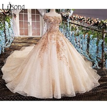 Lisong Luxury Dubai 3D Flower Wedding Dresses 2017 Crystal