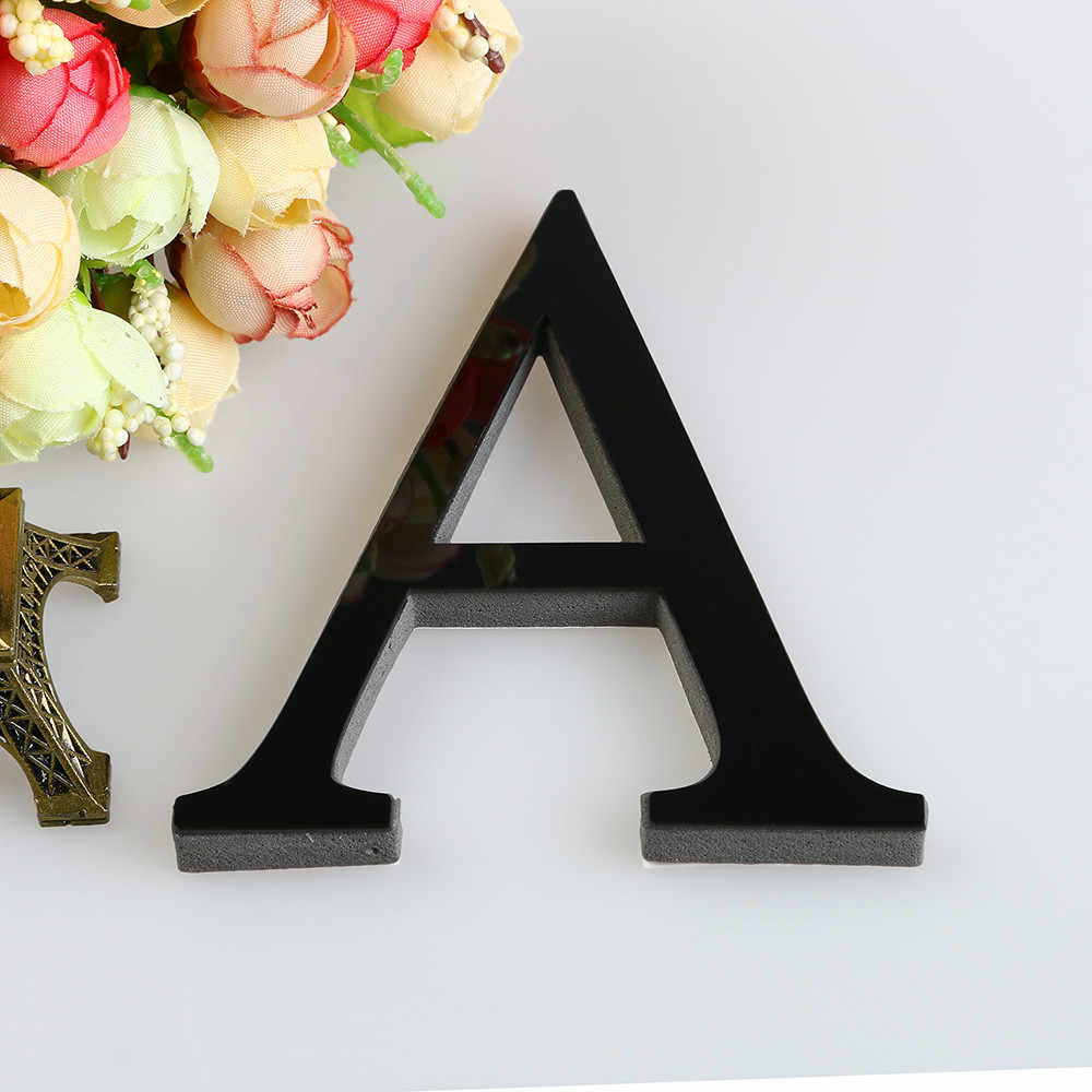Black 26 Letters DIY 3D Acrylic Mirror Wall Sticker Decals Making Words Wall Decals Art Home Decor Bedroom Home Decoration