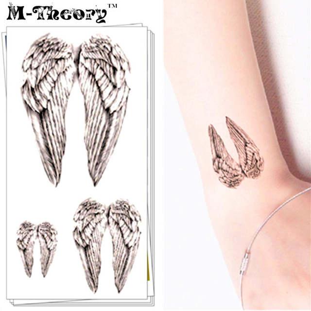 M Theory Temporary Tattoos Sticker Henna Body Art Tattoo Sticker Angel Wings Flash Tatoos Sticker 10 5 6cm Swimsuit Makeup Tools
