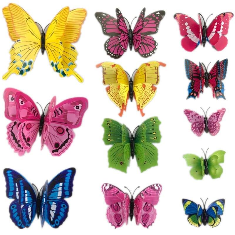 12pcs 3d PVC Wall Stickers Magnet Butterflies DIY Home
