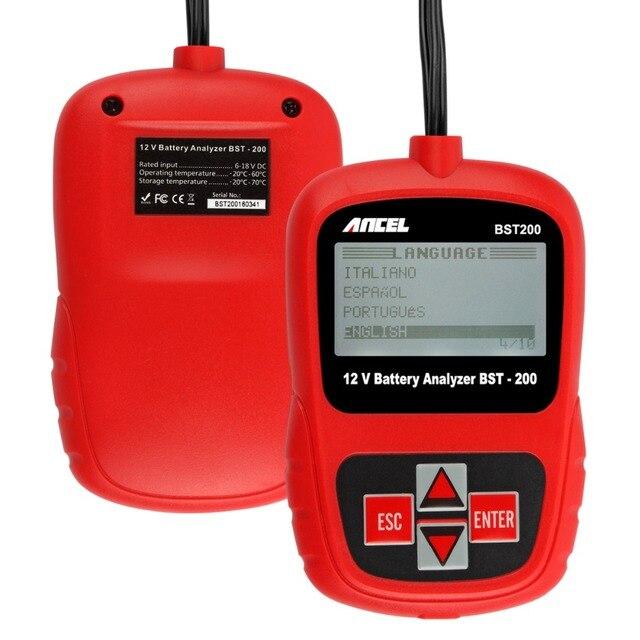 Ancel BST200 12V Car Battery Tester for Flooded, AGM, GEL Original BT100 12 Volt Automotive Battery Analyzer CCA Free Shipping