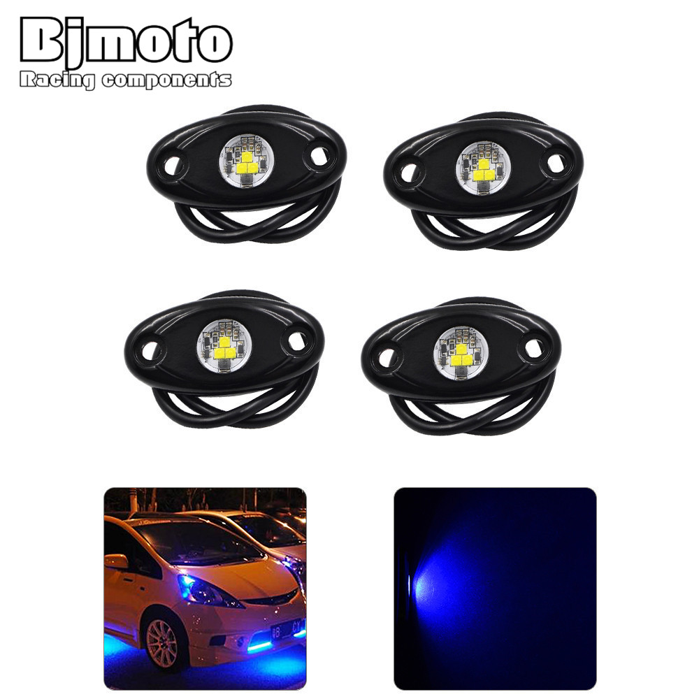 4Pcs Universal Fit 9W High Power LED Rock Light Kit Underbody Glow Trail Rig Lamp For Jeep Truck SUV Off-Road Boat Xenon Blue