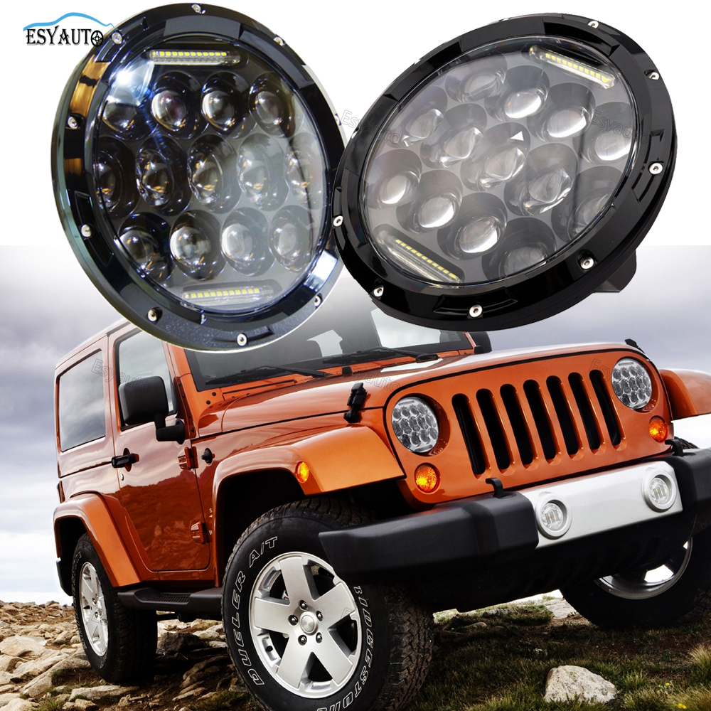 7 Inch LED Headlights 75W Round Hi/Lo Beam DRL Projector Driving Lamps Assembly for Jeep Wrangler JK LJ TJ (2 PCS, Black/Silver)
