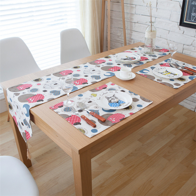 Cartoon Tassel Tablecloth Fashionable Modern Table Runners Christmas  Tablecloth Decorations Linen Table Runner