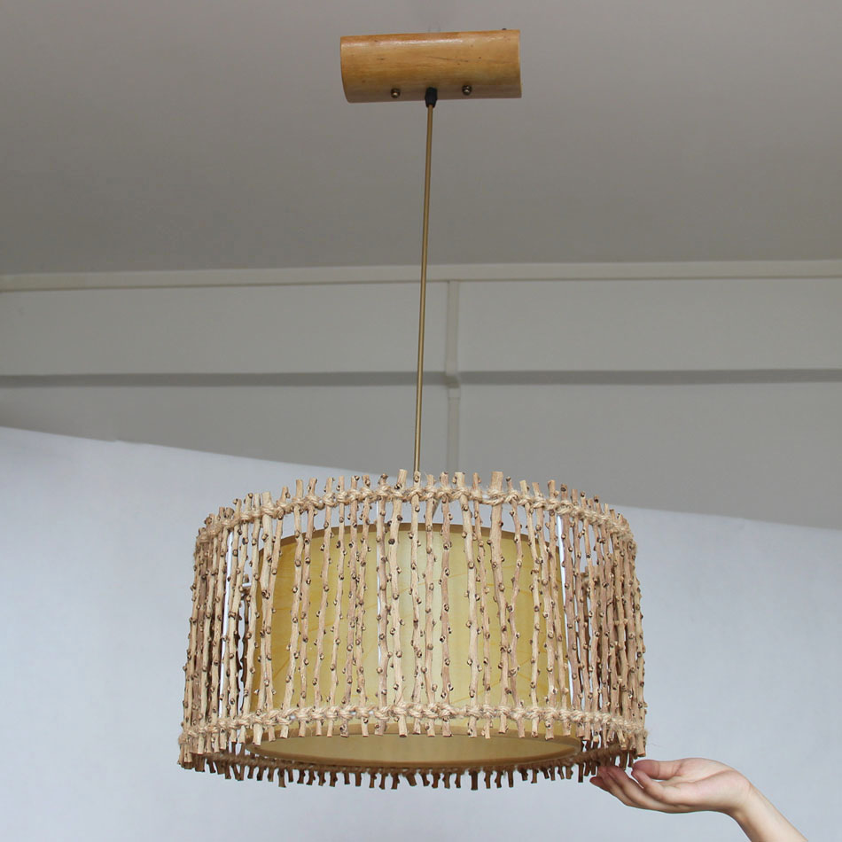 Japanese style Creative Solid wicker Bamboo Pendant Light, Led Light Dining Room Suspend Lamp Lighting Fixtures Lustre Lamp