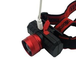 Image 4 - Yeni far USB şarj edilebilir kafa feneri zumlanabilir T6 LED 18650 far el feneri odaklama teleskopik far
