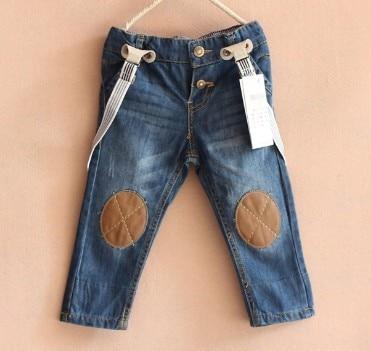 Горячие продажа большой марка дети Подтяжки джинсы мальчиков девочек детская одежда детские габаритные джинсы 100% хлопка детей брюки Бесплатная доставка