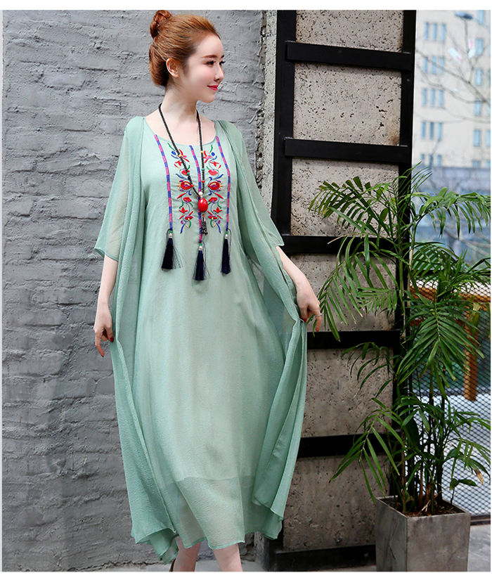 2019 New Cotton Linen Casual 2 Pieces Women Dresses Slim Sleeveless Dress And Cardigan Summer Embroidery Chinese Style Dress 12