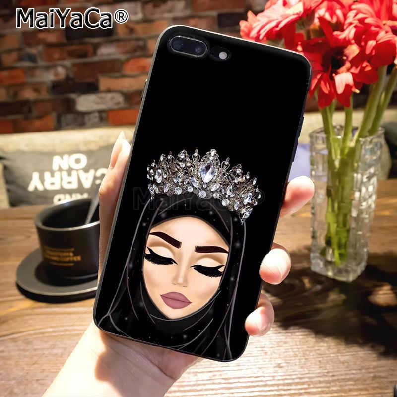 MaiYaCa Hồi Giáo Hồi Giáo Gril Đôi Mắt silicone đen mềm tpu phụ kiện điện thoại trường hợp đối với iPhone 8 7 6 s Cộng Với X 10 5 s SE 5C Coque Vỏ