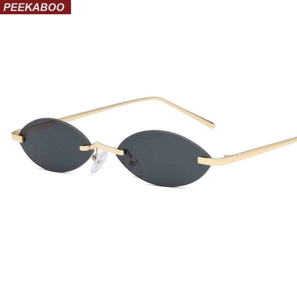 Peekaboo vintage small oval sunglasses women rimless 2019 retro mini sun glasses for men mirror uv400 gold metal blue red