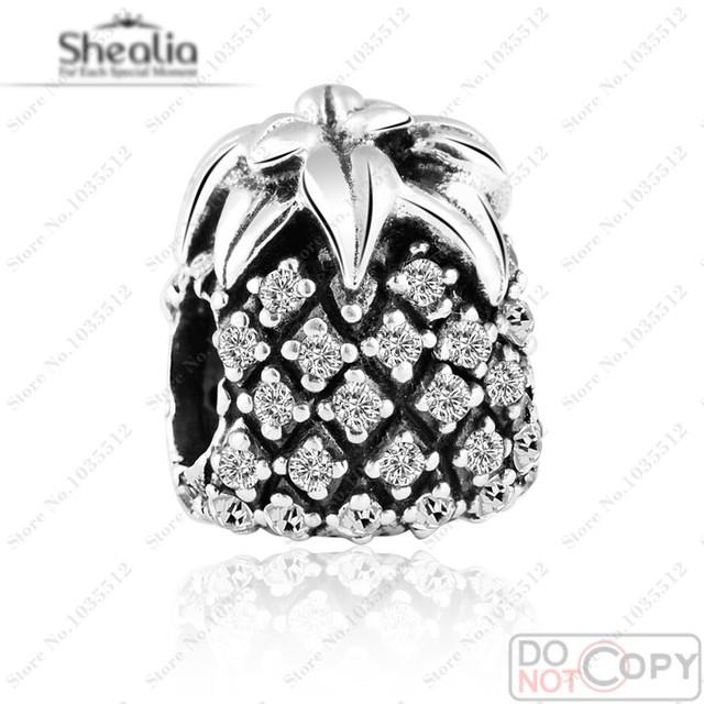 Sparkling Silver Piña Encantos de Plata de Ley 925 Piedra de LA CZ Granos Del Encanto de La Vendimia Joyería Adapta Marca pulseras del encanto Making