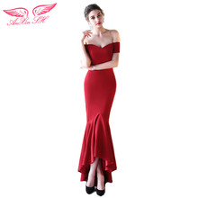 AnXin SH red trumpet evening dress ruffles red mermaid evening dress princess red mermaid evening dress