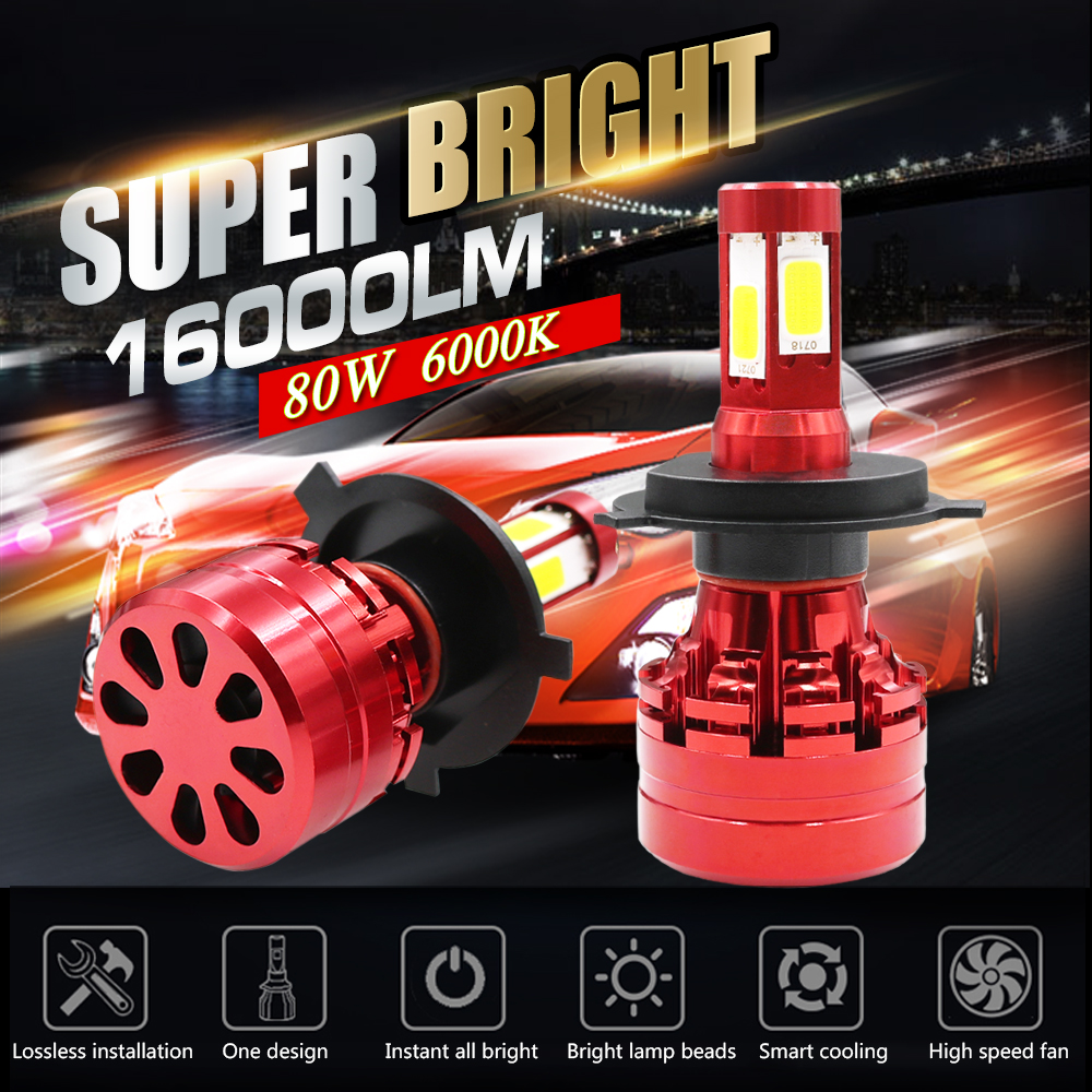 Car Auto H7 H8 H11 9004 9007 H4 Canbus Error Free Auto Car LED headlight Cree Cob CHIP LED 16000LM Turbo Headlight H/L Beam Bulb bomiko auto l