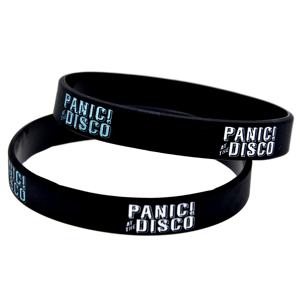 OneBandaHouse 1PC խուճապը Disco Silicone Wristband Black Fashion Bracelet- ում