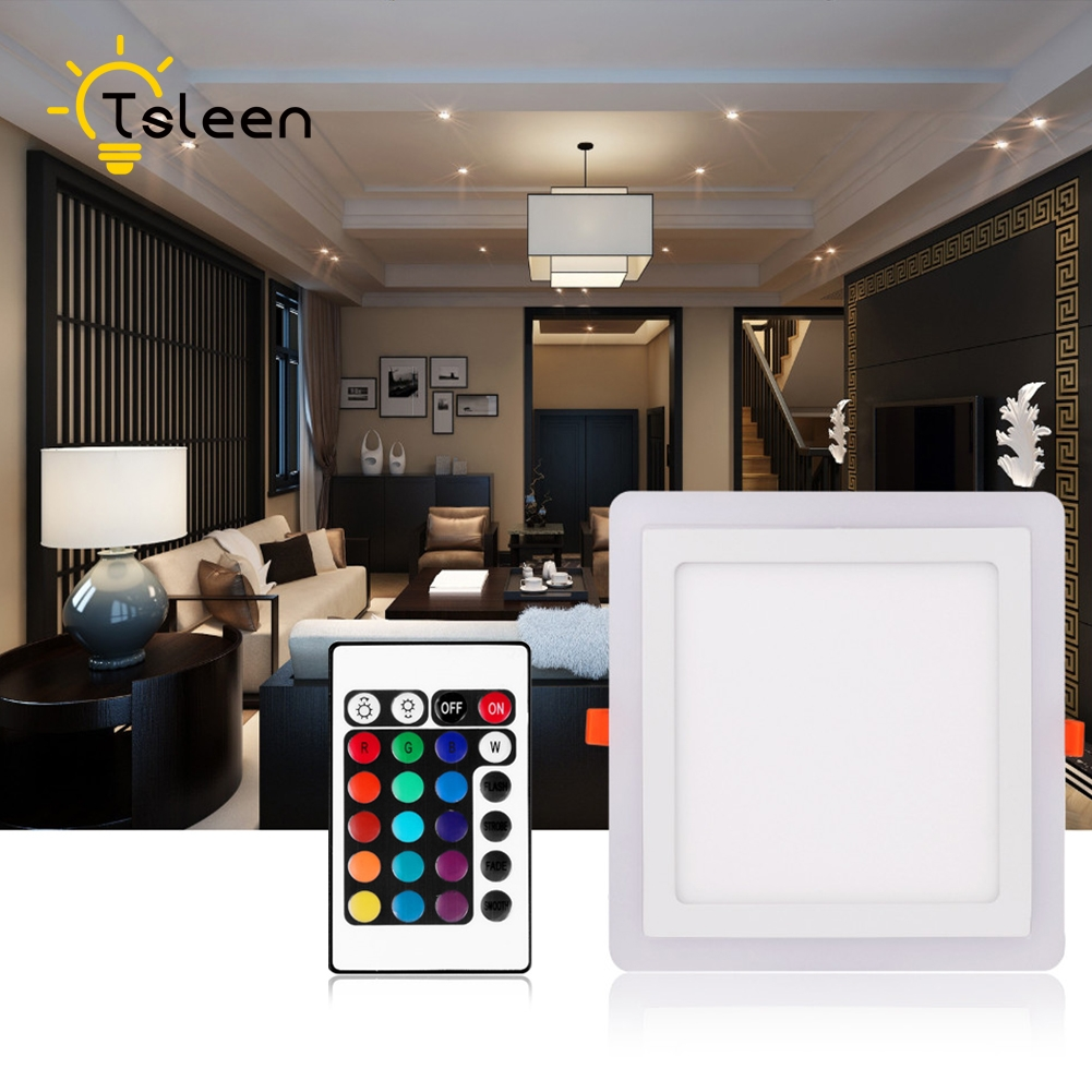 TSLEEN Dimmable Ceiling Light Bluetooth speaker LED Lamp 12W Colorful Party Lamp RGB Deco Bedroom Lighting