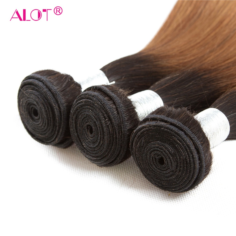 ALot 1B/30 Ombre Straight Human Hair Bundles With Frontal Non Remy Pre Colored Dark Root Brazilian Hair Weaving-in 3/4 Bundles with Closure from Hair Extensions & Wigs    2
