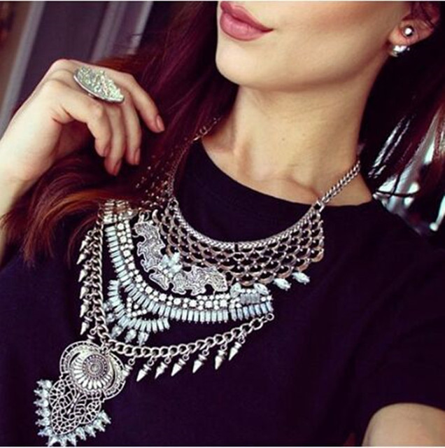 Women Fashion Vintage Boho Crystal Collares statement Necklaces & Pendants Choker Maxi Necklaces Collier Femme Jewelry 2016