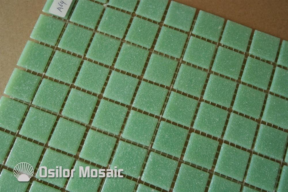 Trasporto libero verde chiaro piastrelle di vetro mosaico per bagno