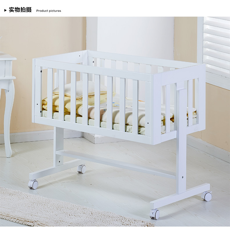 Baby crib wood multifunctional bed. White paint free variable desk promotion 6pcs baby bedding set cot crib bedding set baby bed baby cot sets include 4bumpers sheet pillow